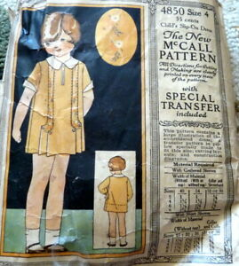 RARE VTG 1920s GIRLS EMBRODIERED DRESS McCALL Sewing Pattern 4