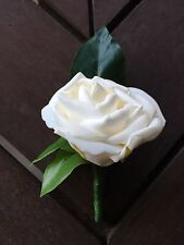 1x Artificial Ivory Rose Grooms or Groomsmens Wedding Bridal Flower Buttonhole