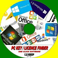 RETRIEVE PC SOFTWARE LICENCE KEYS/CODES WINDOWS 7 8 8.1 10 XP & OFFICE NEW CD