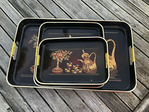 VINTAGE JAPANESE LACQUERED TRAY SET OF THREE NESTING & SERRVING TRAYS NEW