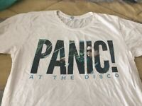 Panic At The Disco T Shirt small white Band Graphic Top