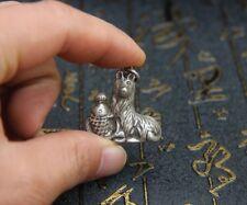 3 CM Miao Silver Handwork Chinese Zodiac Aniaml Lucky Dog Fish Amulet Pendant