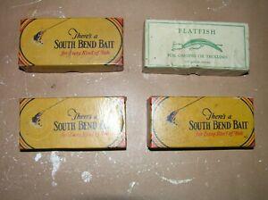 Vintage South Bend Lures w/Boxes Lot of 4 Bass-Oreno Teas-Oreno Helin Flatfish