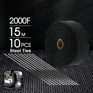 Heat Resistant 2000F Exhaust Wrap Black 15M*50mm + 10 Stainless Steel Ties