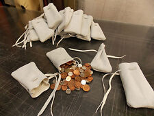 Medieval/Larp/SCA/Reenactment White Leather DRAWSTRING MONEY POUCH/ BAG, Wedding