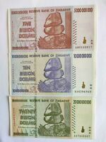 ZIMBABWE5 , 10  and 20 BILLION Dollars  A Set of 3 Crisp UNC Banknotes