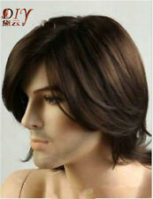 Medium Short Men's Wavy Cosplay Bangs Natural Hair Wig Dark Brown Heat Resistant