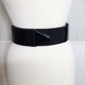 Vintage Black Belt Wide Plastic Adjustable Pointed End Size 8 Unbranded