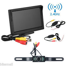 "5"" LCD Car Truck Rear View Backup Monitor+Wireless Reverse IR Camera System Kit"