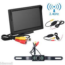 "5"" TFT Car RearView Backup Monitor+Wireless Reverse IR Camera Parking System Kit"