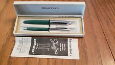 VINTAGE SHEAFFER GREEN SNORKEL FOUNTAIN PEN & PENCIL ORIGINAL BOX W/INSTRUCTIONS