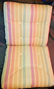 Vinyl Striped Colorful Cushion For Patio Chair Retro Vintage w/ Accent Buttons
