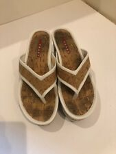 93be102ef4d Prada White and Cork Thong Wedge Sandals Size 35.5