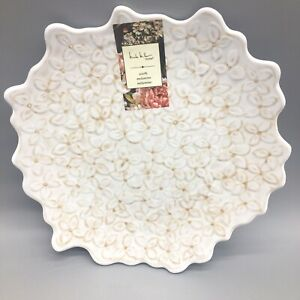 x4 Nicole Miller Embossed Lilac MELAMINE Dessert Plate Set Floral White Elegant