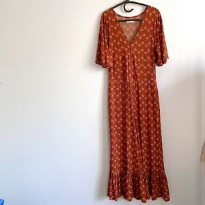 Tigerlily Andina Wide Leg Rust Print Jumpsuit Size 14