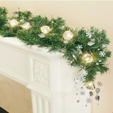 5 Ft Cordless LED Lighted Sparkling Faux Crystal Christmas Garland