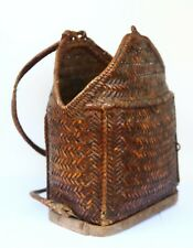 Vintage IFGUAO Philippines Rattan Backpack Bontoc Woven Tribal Wicker Basket