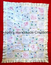 HANDMADE BABY QUILT /EMBROIDERED PINKWORK AND BLUEWORK BABY THINGS  30 X 41