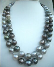 "LONGER 38""HUGE 10-14MM SOUTH SEA NATURAL BLACK GRAY DROP PEARL NECKLACE"