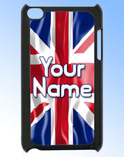 UNION JACK GB FLAG PERSONALISED IPOD TOUCH 4 CASE / REAR COVER - NAMED TOO !