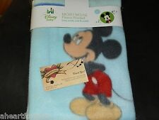 DISNEY MICKEY MOUSE BABY BLANKET BLUE FLEECE PATCHWORK LOOK BOY SOFT NWT SWADDLE