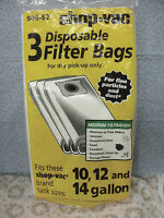SHOP-VAC, 3 Disposable Filter Bags, For Dry Pick-Up, For 10-12 & 14 Gallon Tank