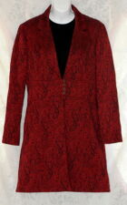 Steampunk Renaissance Red Paisley Crinkle Jacket Lined Peacoat Rockabilly EC 12