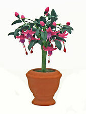 Fuchsia Plant & Pot ~ Miniature Flowers ~ Fairy Garden ~Dolls House ~ Handmade