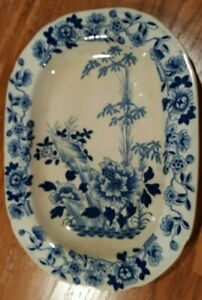 """Antique blue and white platter 10.75"""" x 8"""""""