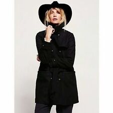 Free People Black Military Belted Wool Coat-S/P