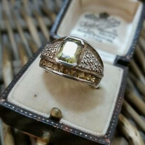Citrine and Ouro Verde 925 Sterling Silver Ring, Dome Ring, Size L US Size 5.75