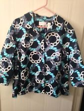 Alfred Dunner Blues/White Chain Design Jacket 3/4 Sleeves Sz 20