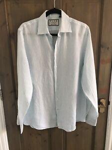 Thomas Pink Mens Shirt Size L Green/White Striped Linen Long Sleeve