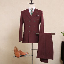 Men's Burgundy 3 Piece Stripe Suit Vintage Wedding Suit Tuxedos Suit Custom