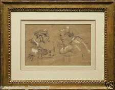 "Honore Daumier French drawing ""Friends"" Charcoal on Paper Scene 19th Century"