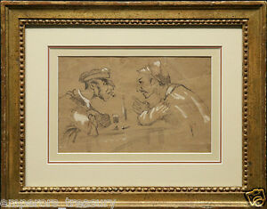 """Honore Daumier French drawing """"Friends"""" Charcoal on Paper Scene 19th Century"""