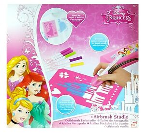 Disney Princess Airbrush Studio With Airbrush Pump 6 Markers 5 Stencils Kids Toy