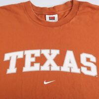 Vintage Nike Team Tag Texas Longhorns University T Shirt Orange Swoosh Large 90s