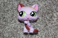 Littlest Pet Shop Purple Kitty #1718 Brown Flowers Green Eyes LPS Toy RARE HTF