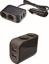2 in1 Car Cigarette Lighter Socket Splitter 12/24V Dual USB Port Charger Adapter