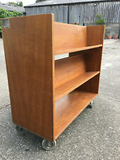 More details for double-sided vintage library book trolley with 5 shelves & castors
