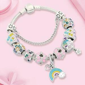 New 925 Sterling Silver Chain Bracelet Heart Rainbow Moon Charm Fashion Jewelry