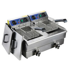 COMMERCIAL 20 LITRES DUAL TANK TWO BASKETS ELECTRIC DEEP FRYER TIMERS AND DRAIN