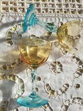 2 verres apéritif digestif en verre soufflé ambre azur Portieux George Sand