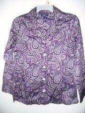 CHAPS WOMAN RALPH LAUREN Purple Paisley  Sleep Shirt  Blouse Top Size M