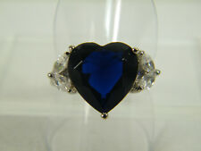 RING:   SIZE 8,  BLUE SAPPHIRE HEART (12MM) WHITE TOPAZ 925 STERLING SILVER