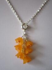 17 inch Silver Plated Necklace & Pendant - Orange Blossom - Orange Flowers