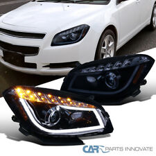 For 08-12 Chevy Malibu Glossy Black LED Signal Strip Projector Headlights Lamps