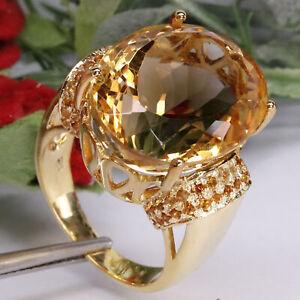 NATURAL VVS 15 X 20 mm. GOLDEN YELLOW CITRINE & SAPPHIRE RING 925 SILVER