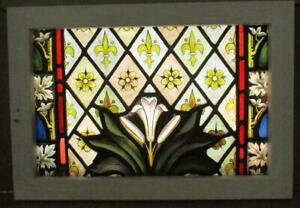 "VICTORIAN ENGLISH LEADED STAINED GLASS WINDOW Hand Painted Lily Etc 19"" x 13.25"""